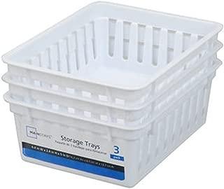 Basic Square Mini Bin Storage Trays - White - 3pk by Mainstay