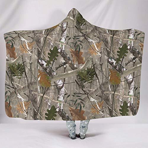 DOGCATPIG Manta usable con capucha conífera camuflaje súper cálido unisex manta con capucha para adolescente blanco 50x60 pulgadas