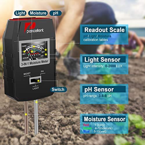 Pancellent Soil Test Kits with 9pcs Bonsai Tools, 3-in-1 Moisture Sensor/Sunlight/pH, Include Pruner, Fold Scissors, Mini Rake, Bud & Leaf Trimmer Set by Trimmer Set by