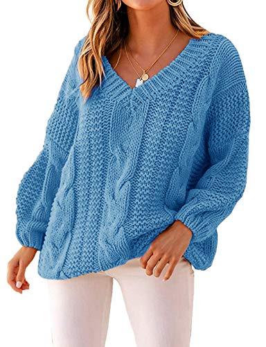 Yidarton Pullover Damen V-Ausschnitt Grobstrick Strickpullover Casual Langarmshirt Sweatshirt Oberteile (Blau, XL)
