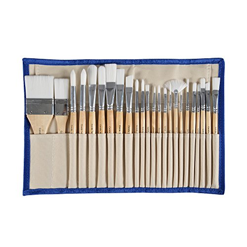 Conda 24 Pcs Chip Paint Brushes Set Professional Brush with Case for Acrylic Watercolor Oil Painting