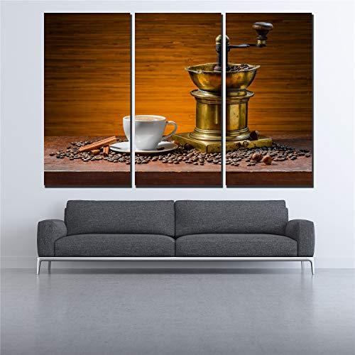 RHBNVR 30 x 40 cm canvas schilderij 3 stuks moderne lekkere koffie canvas bar café muurschilderij poster woonkamer decoratie poster