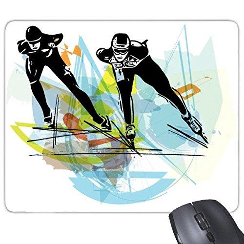Winter Sport Schaatsen Atleten Sport Schaatsen Aquarel Schets Rechthoek Antislip Rubber Mousepad Game Mouse Pad