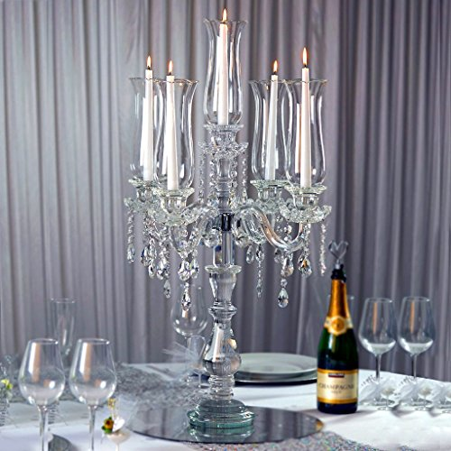 "Efavormart 32"" Tall Handcrafted 5 Arm Crystal Candelabra"