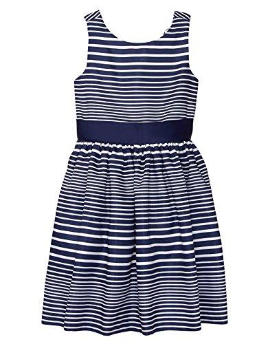 Gymboree Girls' Little Sleeveless Bow Dress, Navy Stripe, 7