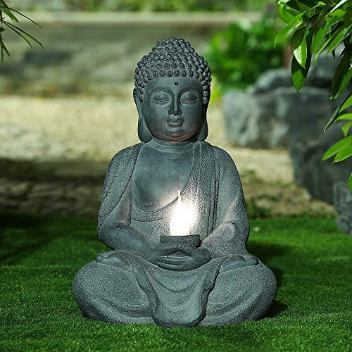 Meditating Buddha Garden Statue with Solar Light Grey Oriental Polyresin Bulbs Included