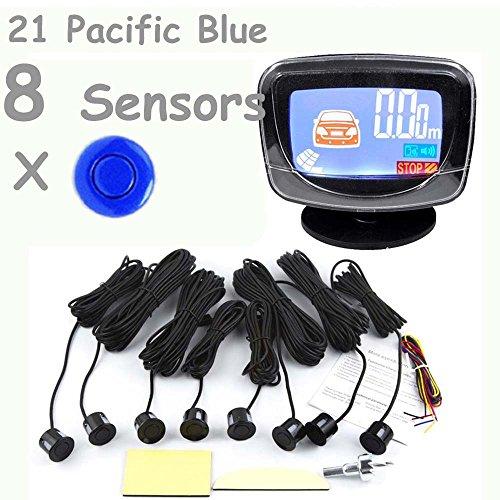 PolarLander Car LCD Parking capteur LCD 8 capteurs de stationnement inversée Radar de sauvegarde Kit Système de détection voiture pour All The Car 1set 21-Pacific Blue