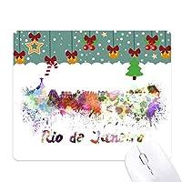リオデジャネイロ市janerioブラジル水彩画 ゲーム用スライドゴムのマウスパッドクリスマス