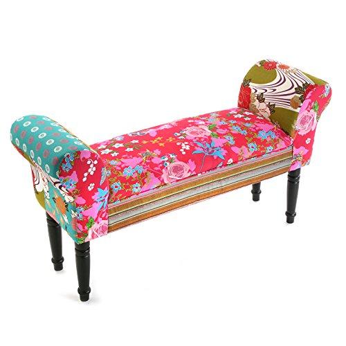 Versa Pink Patchwork Taburete pie de Cama para el Dormitorio, Banco para el Hall o la Entrada, con Apoyabrazos, Medidas (Al x L x An) 53 x 32 x 100 cm, Algodón y Madera, Color Rosa