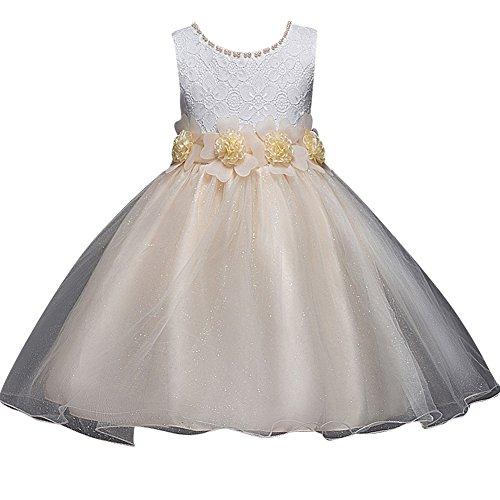 Bebés Niñas Vestido Floral De Tutú Princesa Traje De Fiesta Formal Elegante para Boda Cumpleaños Festividades Champán 130
