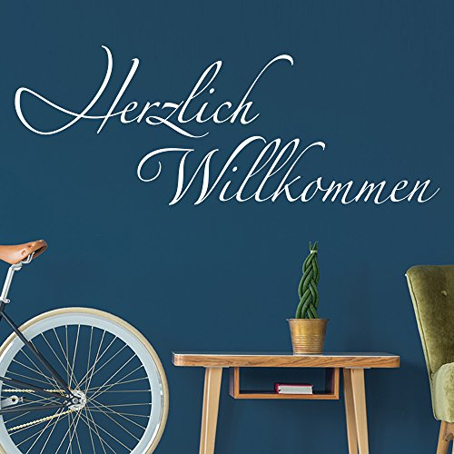KLEBEHELD® Wandtattoo Herzlich Willkommen Schriftzug - Wanddekoration für den Flur und Eingang - Farbe dunkelrot, Größe 80x30cm