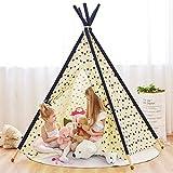 YOLEO Tente de Jeu Enfant Portable Intérieur Exterieur Design d'étoile Tipi Tente Fille Garçon 100% Coton Toile+ 5 Piquets en Pin