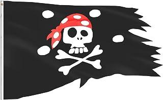 eZAKKA Pirate Flag Red Hat Pirate Skull and Crossbones Flaags غير منتظم الشكل بوليستر قارب دراجة السيارة ديكور خارجي / داخ...