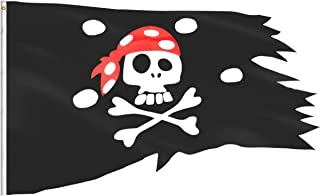 eZAKKA Pirate Flag Red Hat Pirate Skull and Crossbones Flags Irregular Shape Polyester Boat Bike Car Bar Decor Outdoor/Indoor Flags for Pirate Party Halloween Decoration Birthday Festival, 2.54x4ft