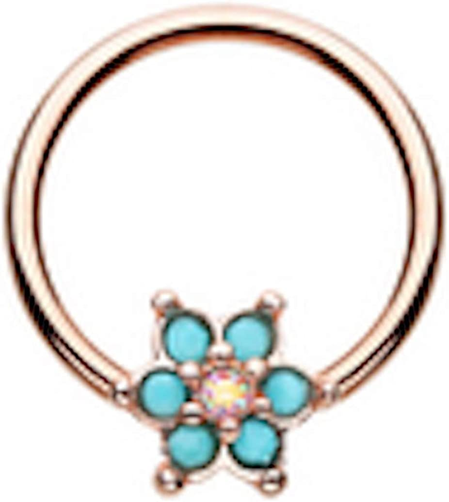 Amelia Fashion 16 Turquoise Spring Flower Turquoise/AuroraBorealis Sparkle Captive Bead Ring 316L Surgical Steel