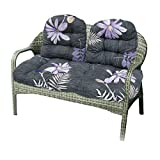 3Pcs Bench Cushion Indoor Outdoor Wicker Settee Cushion,1 Loveseat Cushion and 2 Backrests Patio Swing Cushions(Chair Not Included) (Style 3)
