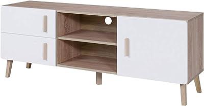 Marca Amazon -Movian Oker - Mueble para TV (roble Sonoma/blanco alpino)