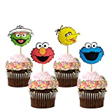 48PCS Sesame Elmo Inspired Cupcake Topper for Sesame Street Theme Birthday Party Cake Decoration