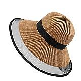 RISTHY Sombrero de Paja Estilo Panamá Plegable Vacaciones Sombrero de Sol Alta Ancha Gorro Color Sólido Elegante Mujer Playa Beachwear Verano UPF50+