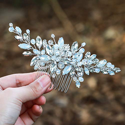 Yean Wedding Hair Comb Silver Rhinestones Opal Crystal