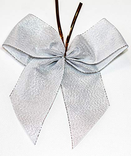 CaPiSo 12 Stück Lurex-Schleifen 14 x 16 cm mit Befestigungsclip 8 cm Schleifenband Geschenkschleife Weihnachtsbaumschleife Weihnachten Hochzeit (Silber-Glänzend)