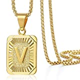 Trendsmax Initial Letter Pendant Necklace for Mens Womens Gold Plated Letter V Pendant Necklace Stainless Steel Box Link Chain 22inch