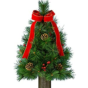 Sympathy Silks Artificial Tree- Realistic Pines- 24in Red Velvet Bow Tree with Pinecones and Berries Holiday Season-No Watering-Christmas Tree with Stay-in-The-Vase Flower Holder and 3 Prong feet