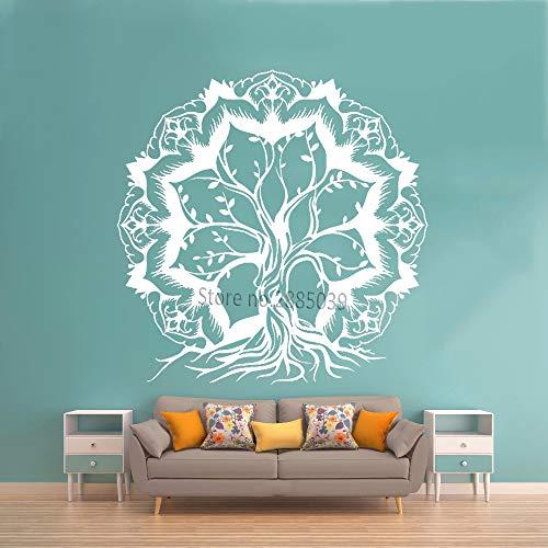YuanMinglu Lotus Abstrakt Lebensbaum AST Aufkleber Vinyl Wandtattoo Weiß XL 110cm x 111cm