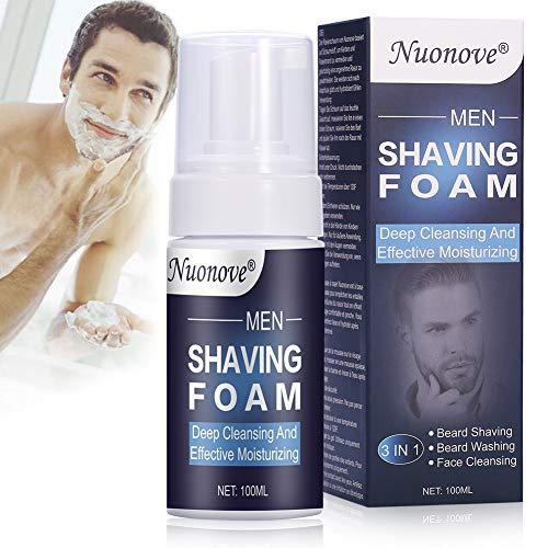 Espuma de Afeitar, Espuma Hidratante, Espuma de afeitar para hombres, para el cuidado de la piel sensible afeitado de barba y lavado de barba y limpieza facial, 3 en 1 (100 ml)