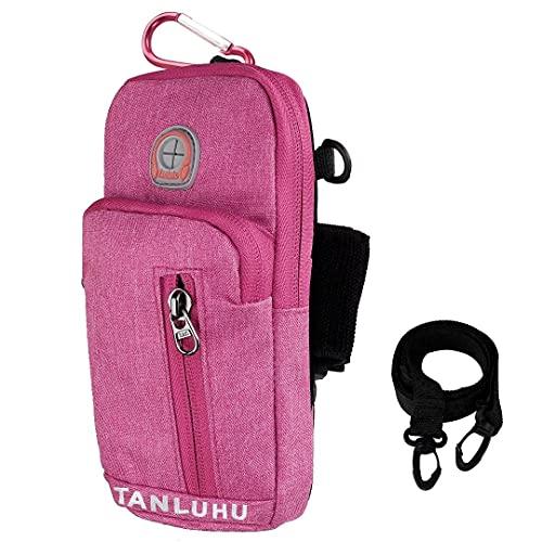 Sports Armbinde Universal Arm Tasche Holder Gym Armbänder Cross Body Umhängetasche Outdoor Gürteltasche Reisepass Brieftasche mit Kopfhörerloch für iPhone, Samsung, Huawei (Rose Red)