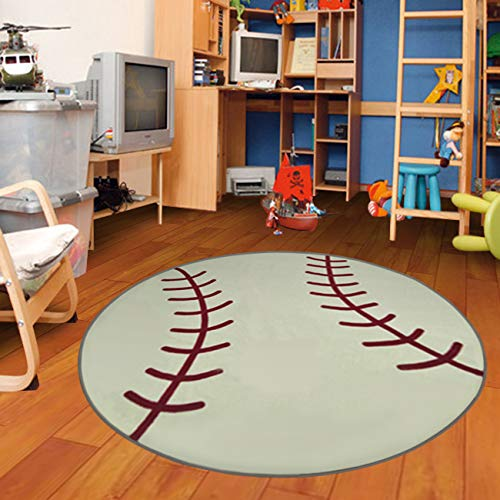 Furnishmyplace Baseball Kids Rug, Round