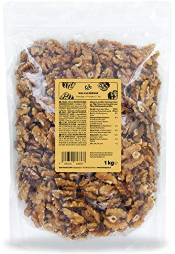 KoRo - Walnusskerne groß & extra hell 1 kg - Knackig-feine naturbelassen ohne Zusätze ohne Schale perfekt für Müsli oder zum Backen in Vorteilspackung