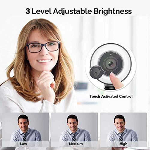 Webcam 1080P Full HD mit Mikrofon und Ringlicht, Vitade 960A Pro Computer PC USB Kamera Facecam für Streaming Video Chat Aufnahme, Mac Windows Laptop Konferenz Spiele Skype OBS Twitch YouTube Xsplit