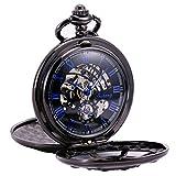 TREEWETO Reloj de bolsillo negro de doble cubierta con números romanos y esfera esqueleto para hombre y mujer.