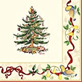 C.R. Gibson Spode Decorated 3-Ply Paper Napkins, Dinner Size, 20-Pack, Ribboned Christmas Tree