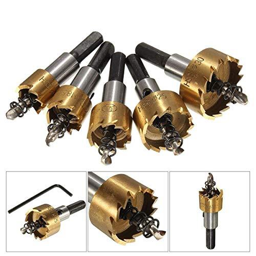 Tfheey Brand 5 Piezas Sierras perforadoras (16mm, 18.5mm, 20mm, 25mm, 30mm), agujero de acero de alta…