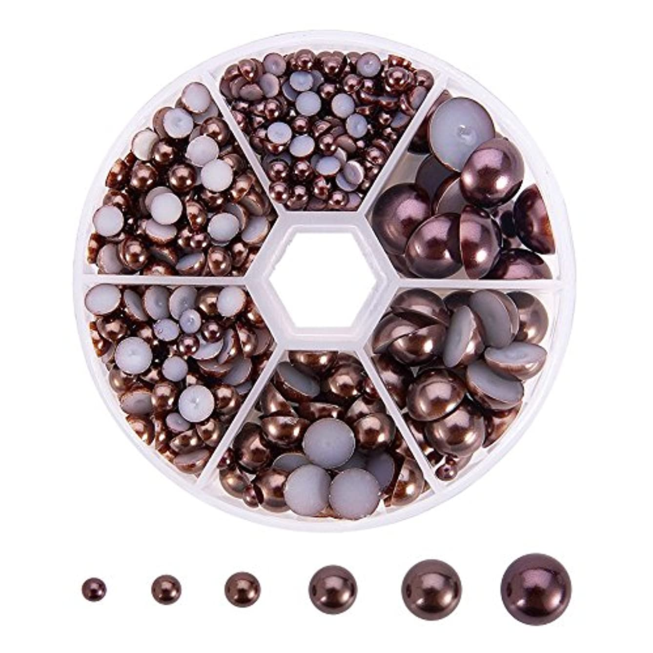 PandaHall Elite 1 Box About 690 Pcs Coconut Brown Assorted Mixed Sizes 4-12mm Flat Back Pearl Cabochons