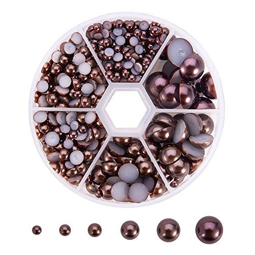 PandaHall Elite 690 Pcs 6 Sizes Flat Back Pearl Cabochons, 4/5/6/8/10/12mm DIY Half Pearl Bead for Jewelry DIY Craft Making Nail Decoration, Coconut Brown, Assorted Mixed Sizes