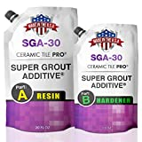 SGA 30 - Super Grout Additive Premium Waterproof Tile Grout Repair & Adhesive (Grout Sold Separately) Kit Includes Applicator - Mixing Cups & Sticks - Makes 90 oz Epoxy Grout - Made in USA
