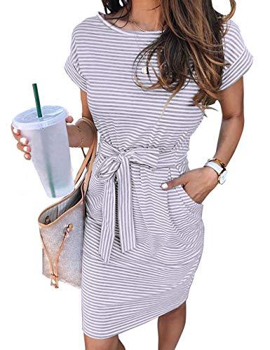 MEROKEETY Women's Summer Striped Short Sleeve T Shirt Dress Casual Tie Waist with Pockets, LightGrey, M