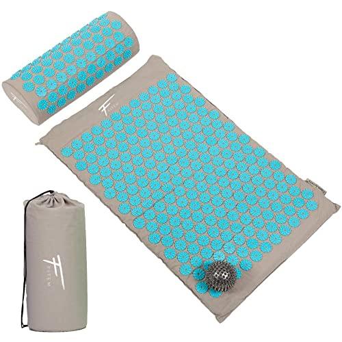 Fitem Kit d'acupression - Tapis d'Acupression + Coussin + Sac + Boule de Massage - Soulage douleurs Dos et Cou - Relaxation Musculaire