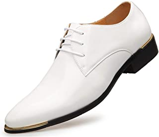 WMZQW Homme Classique Commercial Chaussure Bout Pointu Cuir Verni Chaussures Mariage Dressing Oxford Business Vintage 38-48