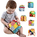 RARITYUS Baby Toddler Learn to Dress Cube - Zip Snap Button Buckle Lace & Tie Fine Motor Skills Toys Learning Basic Life Skills Toy Baby Early Development Toys Soft Cloth Book