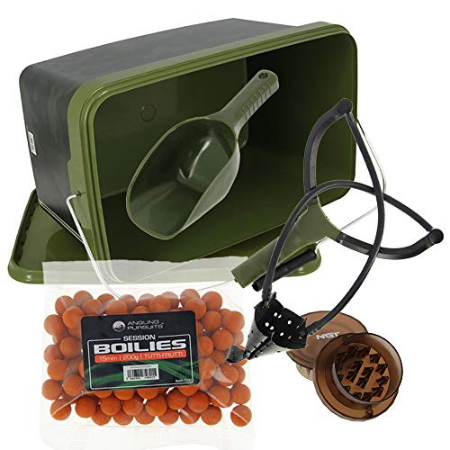 DNA Leisure NGT Carp Coarse Fishing Tackle Bait Grinder Catapult Boilies 12.5L Square Bucket & Spoon Set