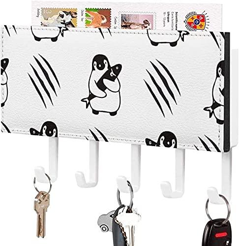 Soporte para llaves para gancho de llave montado en la pared, dibujo de siluetas de aves de arte abstracto, soporte para correo de entrada a la pared, organizador de llaves decorativo con 5 ganchos,