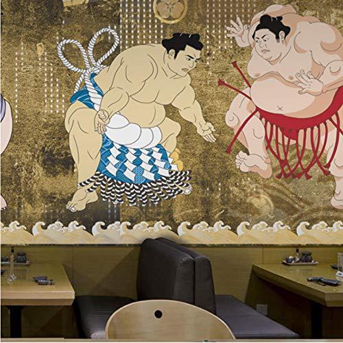 Wuyii 3D-fotobehang, personaliseerbaar, Japanse figuren, retro-behang, wanddecoratie, sushi-tent, restaurant 350 x 250 cm