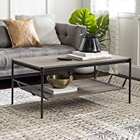 Walker Edison Industrial Wood and Metal Base Rectangle Coffee Table