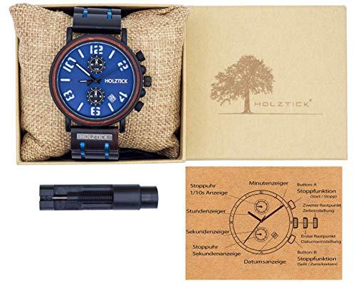 Holzuhr Armbanduhr Herrenuhr mit Werkzeug zum kürzen des Gliederarmbands