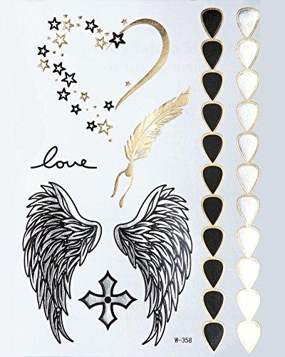 Metallic Flash Tattoos Gold + Silber Bling Body Flügel Feder Herz Armband W358 - LK Trend & Style