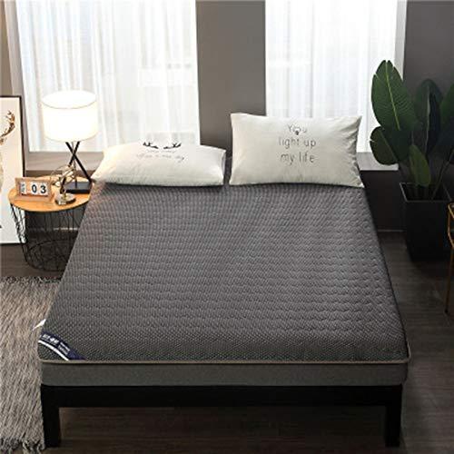 Beauzq - Materasso pieghevole in cotone lavorato a maglia, a 4 strati, design a compressione, morbido e confortevole, singolo/matrimoniale, applicabile a hotel/famiglia, grigio, 120 x 190 cm